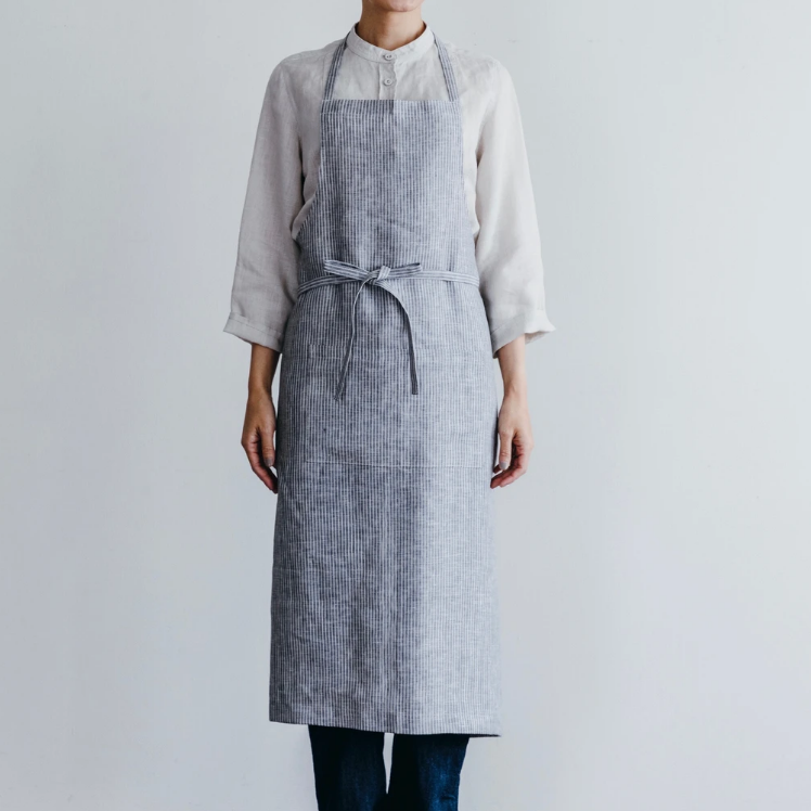 Grey Striped Linen Apron