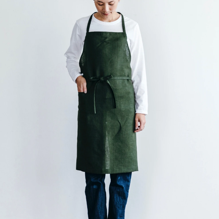 Daily Linen Apron - Forest