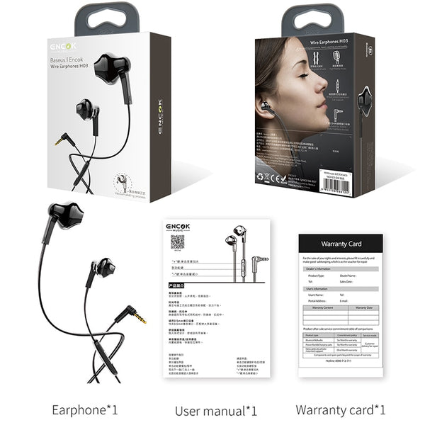 Stereo Bass Sound Earbuds with Mic
