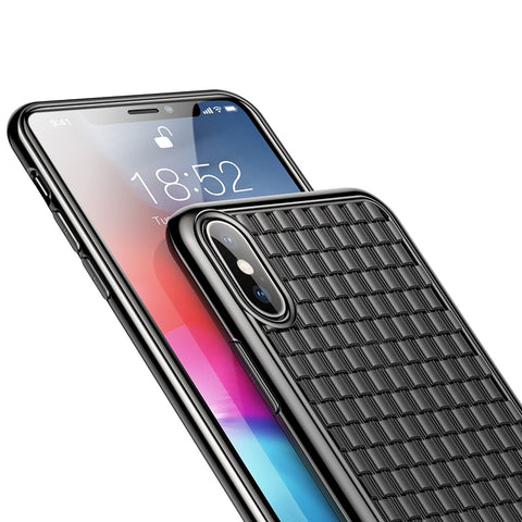 Soft Silicone Grid Pattern Case |  iPhone Xs Xs Max XR