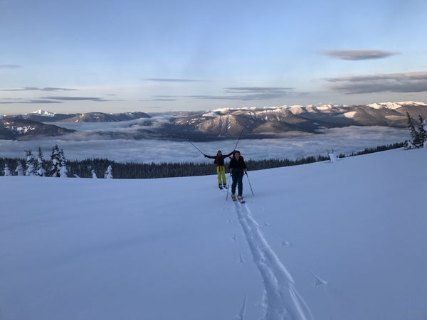 Early morning ski touring up to Red Moutain