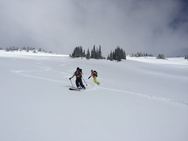 Skiing shirtless down to the Penny - Red Mountain cabin