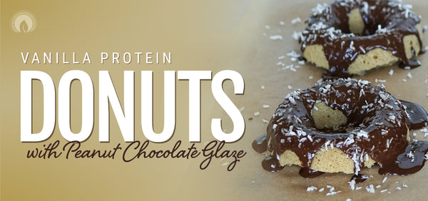 Vanilla Protein Donuts with Peanut Chocolate Glaze