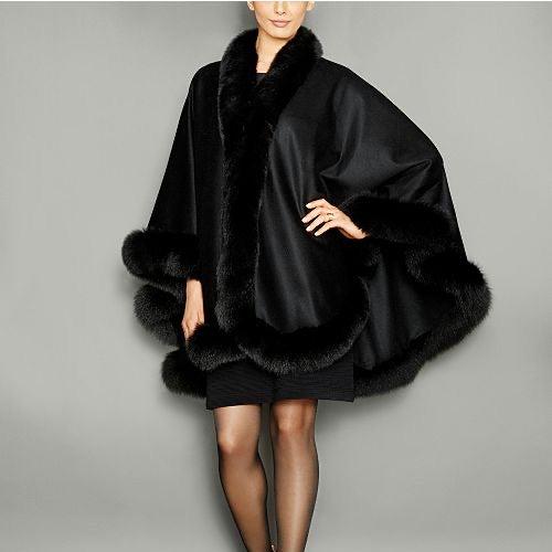 Cashmere Cape w/ Fox Trim