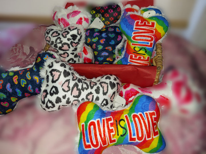 Love Pink Leopard Hearts or Kisses Plush Dog Toy Bones made in the USA