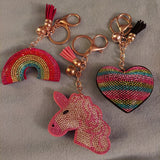 Rainbow, Rainbow Heart and Unicorn Crystal Rhinestone Keychain, Key Fob Purse Backpack Charm