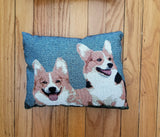 Tapestry Pembroke Welsh Corgi Dog Pillow