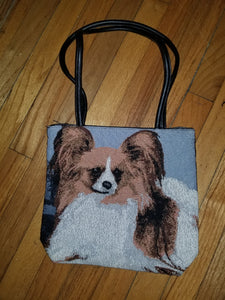 Papillon Dog Ladies Tapestry Purse Handbag