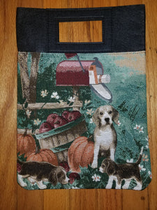 Beagle Hound Dog and Puppies Autumn Scene Purse Computer Bag