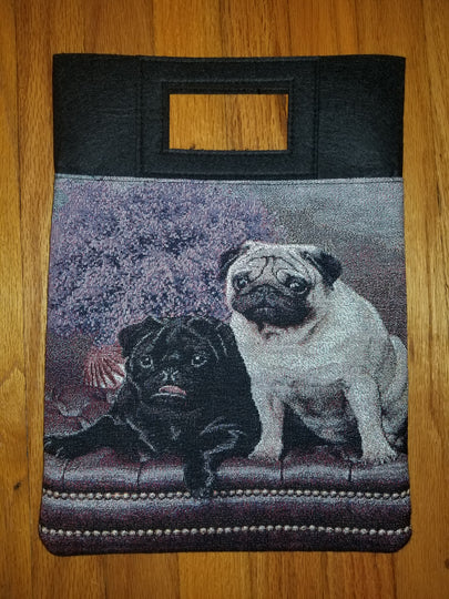 Ladies Fawn and Black Pug Dog Purse Computer Bag