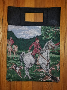 Fox Hunt Scene Foxhound Horse Tapestry Purse Computer HandBag