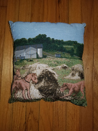 Irish Terrier Dog and Puppies Tapestry Pillow