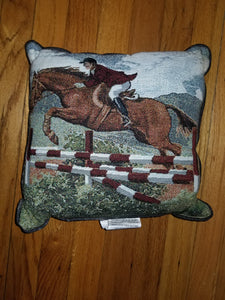 Tapestry Hunter Jumper Horse Pillow