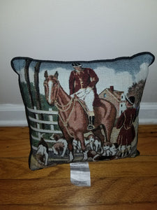 Tapestry Foxhound Hunt Horse Pillow