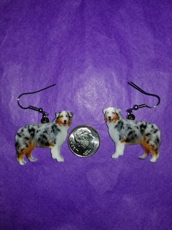 Australian Shepherd Dog Lightweight Earrings Standing Design