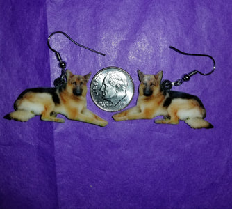 K9 German Shepherd Dog laying down lightweight earrings