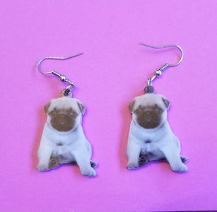 Cute Pug Dog Lightweight Earrings Jewelry