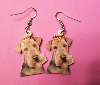 Airedale Terrier Dog lightweight earrings The King of Terriers