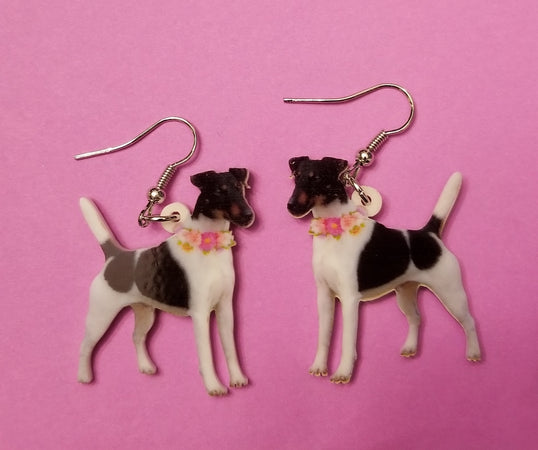 Smooth Fox Terrier Dog lightweight earrings