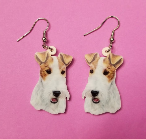 Wire Fox Terrier Dog Lightweight Earrings