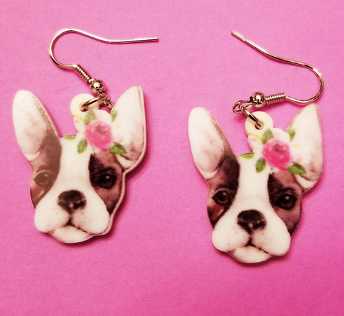 Sweet Boston Terrier French Bulldog Lightweight Earrings