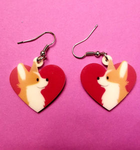 Pembroke Welsh Corgi Dog Heart Lightweight Earrings