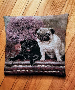 Tapestry Black and Fawn Pug Dog Pillow