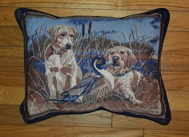 Yellow Labrador Retriever Dog with Ducks Tapestry Pillow