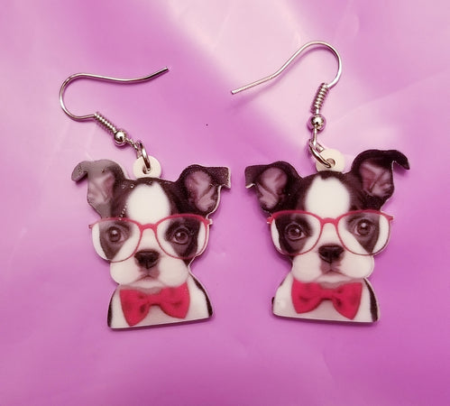 Professor Boston Terrier Dog Lightweight Earrings
