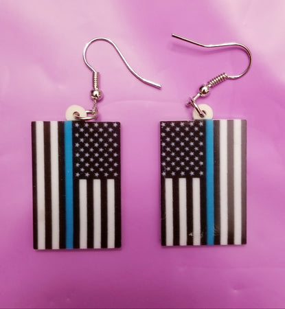 Thin Blue Line American Flag Lightweight Earrings
