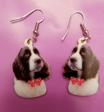 English Springer Spaniel Hunt Dog Print Lightweight Earrings
