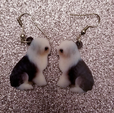 Old English Sheepdog Herding Dog Lightweight Earrings Jewelry