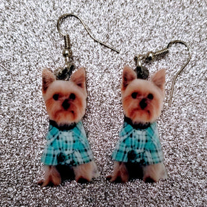 Puppy Cut Yorkshire Terrier Yorkie Dog Lightweight Earrings Jewelry