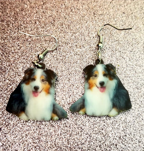 Australian Shepherd Dog Lightweight Earrings  Design 3