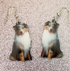 Design 2 Australian Shepherd Dog Lightweight Earrings