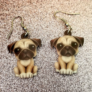 Design 2 Pug Dog Lightweight Earrings Jewelry