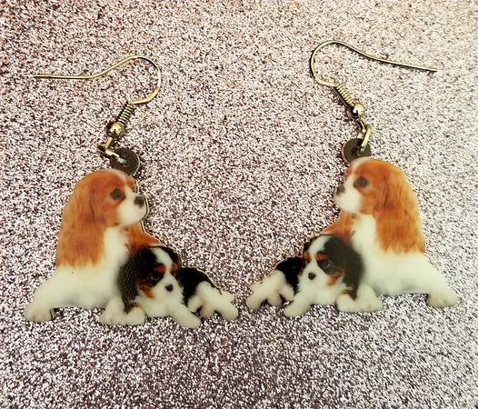 Cavalier King Charles Spaniel Blenheim Ruby Dog Design 3 mom and puppy lightweight earrings jewelry