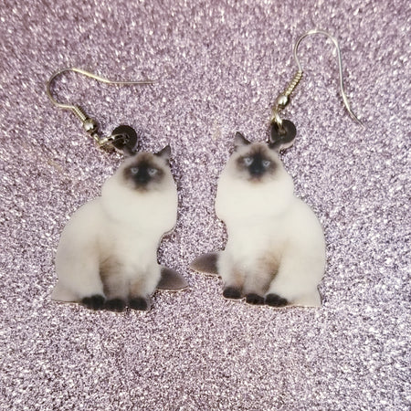 Blue Tip Himalayan Cat Kitty Kitten Lightweight Earrings Jewelry