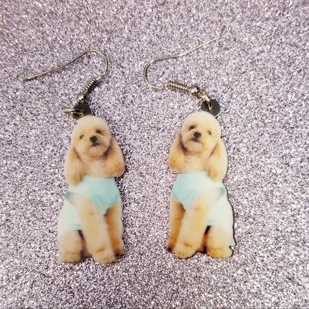 Miniature Toy Poodle Dog Design 2 Lightweight Earrings Jewelry Puppy cut