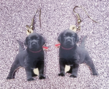 Puppy Black Labrador Retriever Dog Lightweight Earrings Jewelry