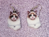 Ragdoll Showshoe Cat Kitty Kitten Lightweight Earrings Jewelry
