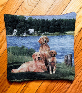 Golden Retriever Dog and Puppies Tapestry Pillow