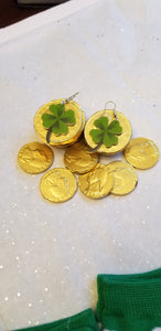 Irish Shamrock St. Patrick's Day Four Leaf Clover Lightweight Earrings Jewelry