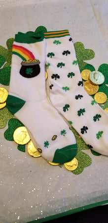 St. Patrick's Day 4 Leaf lover or Pot of Gold Socks
