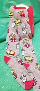 Movie, Popcorn, Hamburger and Shake Foodie Socks