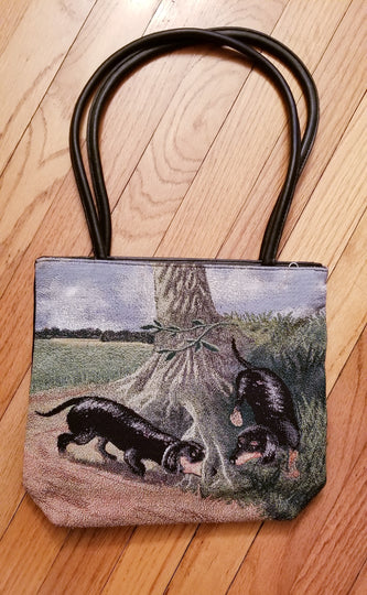 Ladies Dachshund Doxie Hound Dog Tapestry Purse Handbag