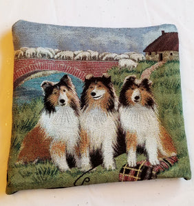 Tapestry Shetland Sheepdog Sheltie Pillow with Sheep