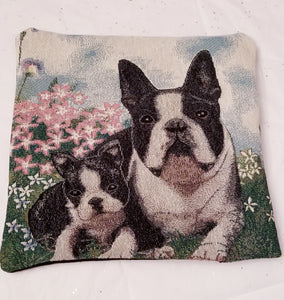 Boston Terrier and Puppy Dog Tapestry Pillow