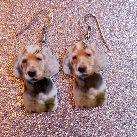English Setter Puppy Dog Lightweight Earrings Jewelry