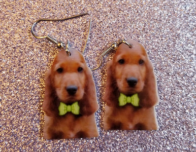 Irish Setter Puppy Dog Lightweight Earrings Jewelry